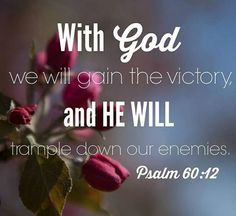 Psalm 60:12 With God we shall do valiantly;     it is he who will tread down our foes.