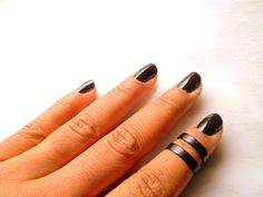 2 Black Smooth Band, Above Knuckle Ring, Adjustable Finger Ring, Stackable rings, Edgysheeq statement rings for everyday Flair