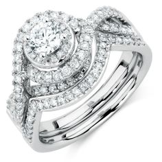 1 CARAT TW DIAMOND SWIRL BRIDAL SET