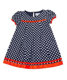 Love this Navy & White Polka Dot Babydoll Dress - Toddler & Girls on #zulily! #zulilyfinds