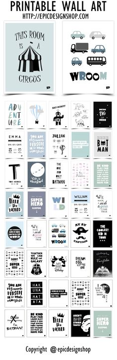 Monochrome printable wall art decor for kids room and nursery. Worldwide shipping or download. Prints / posters for girls and boys. http://epicdesignshop.com