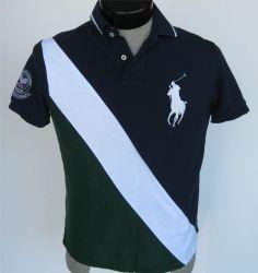 Polo Ralph Lauren S Shirt Big Pony Wimbledon Tennis Color Block Custom Fit SS