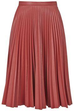 PU Pleated Midi Skirt - Topshop