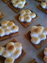 Fill up sheet pans with Graham crackers. Spread each with a thin layer of Nutella. Put 6-7 mini marshmallows on top of each. Put under the broiler for about 2 minutes. Watch to make sure they get golden brown. Take them out and let them cool slightly. Make sandwiches by pressing two together. Eat right that moment or let them cool completely and wrap each with plastic wrap. Keep cool until serving time but do not chill them in the fridge or the cracker will get soggy.