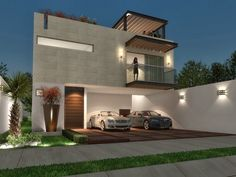 Hermosa fachada minimalista con terraza