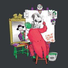Batman's Joker in a Norman Rockwell style triple self-portrait. Art by Scott Neilson aka The Triple Prankster feature three versions of the Joker. Heath Ledger, Der Joker, Joker Art, Bd Comics, Marvel Dc Comics, Comic Books Art, Comic Art, 3 Jokers, I Am Batman
