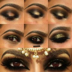 Envy green with gold glitter Arabic makeup pictorial