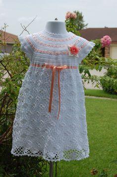 Handmade Crochet Girl's Dress with slip by whitedaisys on Etsy, $39.00