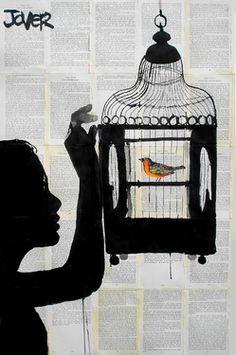 """Saatchi Online Artist Loui Jover; Drawing, """"bird cage"""" #art"""