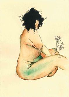 Mulher gorda aquarela por Lua Reis