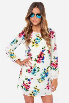 Herbaceous Babe Ivory Floral Print Shift Dress at LuLus.com! @Kathleen P  what about this one