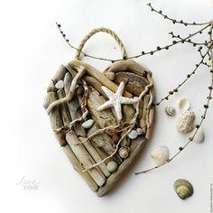 Купить Сердце 'Любовь и море подвеска-валентинка - белый, серый, сердце, День Святого Валентина