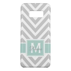 Personlized Mint Green Monogram Gray Chevron Case-Mate Samsung Galaxy S8 Case - stylish gifts unique cool diy customize