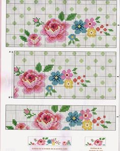 """[ """"Lovely floral X-stitch pattern in Cath Kidston type colours"""", """"Rose and flowers vintage cross stitch pattern Cross Stitch Bookmarks, Cross Stitch Love, Cross Stitch Borders, Cross Stitch Flowers, Cross Stitch Charts, Cross Stitch Designs, Cross Stitching, Cross Stitch Embroidery, Cross Stitch Patterns"""