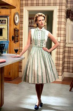 """MAD MEN FINALE: THE STARS PICK THEIR BEST AND WORST OUTFITS EVER -BETTY'S BEST  In addition to Betty's gorgeous audition dress, Jones says she was particularly fond of one decade's fashion trends. """"I loved the first two seasons especially just because that silhouette, the late '50s silhouette with the petticoat, while at times very cumbersome and uncomfortable, I loved how that stuff looked."""""""