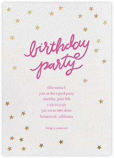 Birthday Stars - Bright Pink/Gold - Paperless Post