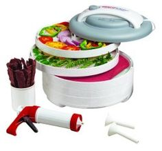 Nesco American Harvest Snackmaster Express Food Dehydrator All-In-One Kit with Jerky Gun The Snackmaster Express All-In-One kit has a top mounted fan. Easily dries fruit, vegetables and jerky quickly and evenly. Dries food in hours not days. Food Dehydrator Reviews, Best Food Dehydrator, Dehydrator Recipes, Jerky Dehydrator, Venison Jerky Recipe, Jerky Recipes, Venison Recipes, Specialty Appliances, Small Appliances