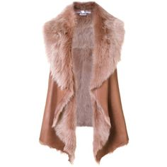 Nellie Partow 'Cyrus' vest (€3.060) ❤ liked on Polyvore featuring outerwear, vests, brown, brown waistcoat, brown vest, nellie partow, vest waistcoat and sheepskin vest