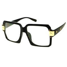 Large Old School Clear Lens Retro Style Square Aviator Eyeglasses A1370