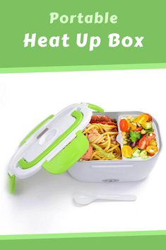 A convenient and portable electric heating lunchbox that lets you warm your food at home or on-the-go. Grab Food, Unique Gadgets, Have Time, Plastic Cutting Board, Lunch Box, Electric, Warm, Bento Box