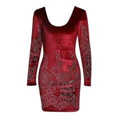 Break Up Red Velvet Rhinestone Long Sleeve Scoop Neck Bodycon Mini... ($78) ❤ liked on Polyvore featuring dresses, mini dress, short dresses, long-sleeve mini dress, velvet bodycon dress and short red dress