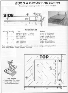 How to build a one-color screenprinting press Screen Printing Press, Screen Printing Machine, Screen Printing Shirts, Printed Shirts, Diy Printing, Printing Process, The Plan, How To Plan, Image Clipart