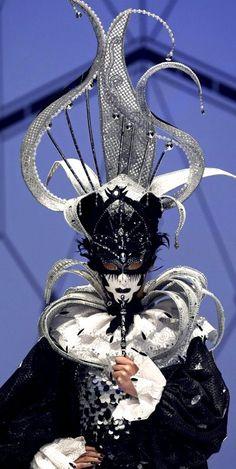 black and silver mask. #masks #venetianmasks #masquerade http://www.pinterest.com/TheHitman14/artwork-venetian-masks-%2B/