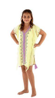Fair Trade Handmade Shu-Shi Girls Swim Cover Up Tunic with Tassle - 100% High Quality Rayon, imported from Bali - V-neck, cozy and lightweight top. can be worn in spring or fall by pairing with jeans. Versatile cozy design works as a bathing suit cover up, top, or dress. Beautiful hand embroidered adds a classic, yet fun colorful Bohemian touch perfect for summer days, beach days or any day! #Kidswear #Bali #Swim #Swimsuit #Clothes #FairTrade #Handmade
