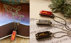 Harmonica Sola Necklace in silver and black   Amano Trading