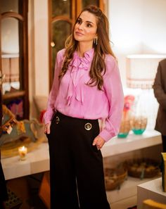 ♔♛Queen Rania of Jordan♔♛October 25, 2015....Queen Rania of Jordan visits JRF's 20th anniversary exhibition