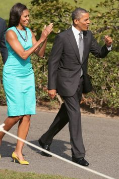 Michelle Obama's New Look: Floral Dress, Romantic Waves In Miami (PHOTOS)
