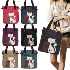 Cat Applique Bag - New Fashion Women's Handbag Canvas Bag With Cute Cat Appliques Portable Causal Ladies Small Bags - Meow Cat Imports Cat Lover Gifts, Cat Gifts, Pet Lovers, Cat Bag, Canvas Handbags, Canvas Bags, Canvas Shoulder Bag, Shoulder Bags, Canvas Leather