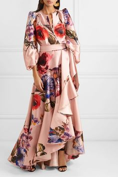 Stunning Dresses, Elegant Dresses, Beautiful Outfits, Nice Dresses, Pink Floral Maxi Dress, Tropical Dress, Printed Gowns, Modest Wear, Western Dresses