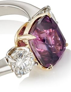 Platinum and 18k gold and diamond ring features a purple sapphire. McTeigue & McClelland Three Stone Ring  - Rings - 505125104