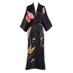 Silk Kimono Long Robe - Handpainted Lotus