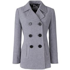 Women's Fashion Double Breasted Winter Pea Coat With Pockets (€43 ...