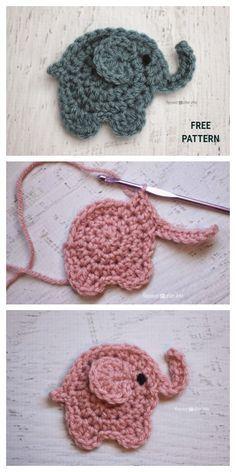 Marque-pages Au Crochet, Crochet Mignon, Crochet Motifs, Crochet Amigurumi, Cute Crochet, Crochet Crafts, Crochet Projects, Crochet Elephant Pattern Free, Crochet Applique Patterns Free