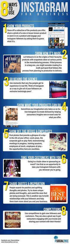 #SocialMedia #Infographics - 8 Ways To Use Instagram For Business #Infografia