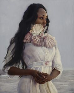 """Artist Sara Scribner's surreal painting """"Forever Wandering Through The Fading Fog"""", oil on panel, 20x16 inches at Wally Workman Gallery in Austin, Texas"""