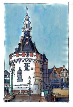 Illustration by Deborah Freriks, Hoofdtoren Hoorn. #illustration #Hoorn #Hoofdtoren #illustratie #houtenhoofd