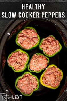 Paleo Stuffed Peppers are filled with seasoned ground sirloin and slow cooked to perfection. Served with cauliflower rice and smothered in spaghetti sauce. Paleo Stuffed Peppers, Slow Cooker Stuffed Peppers, Whole 30 Recipes, Real Food Recipes, Healthy Recipes, Healthy Slow Cooker, Slow Cooker Recipes, Ground Sirloin, Spaghetti Sauce