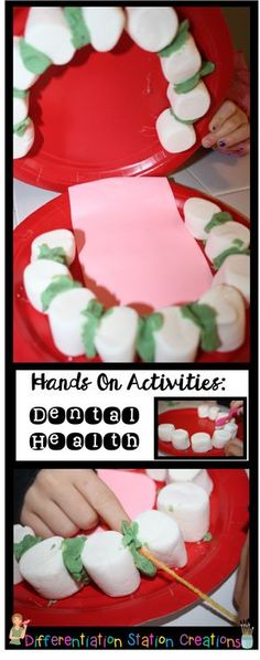 Hands on activities to explore dental health. Cross curricular ideas! Stale marshmallows make great teeth and yarn flosses play dough plaque!