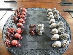 Awesome skull chess set