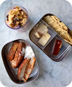 Easy lunch box ideas: barbecue roasted pork loin; rice crackers with Parmesan cheese and quince paste; and a yogurt and fruit parfait. http:...