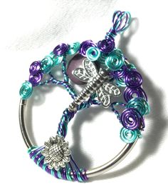Dragonfly Tree of Life with Purple Moon by SassyMyDesigns on Etsy