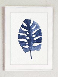 Idée de cadeau quelque chose de bleu. Clipart de feuilles de palmiers tropicaux. Peinture de feuille banane Palm. Tropical aquarelle de Monstera Philodendron. Impression d'Art Jean Home Decor papier abstraite minimaliste. Un prix est pour l'ensemble des deux différents Palm Tree feuille de tirages d'Art comme le montre la première photo. Type de papier : Imprime jusquà (42 x 29, 7cm) 11 x 16 pouces taille sont imprimées sur acide darchivage gratuit 270g/m2 blanc aquarelle Fine Art Paper...