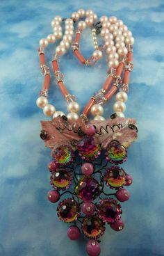 Signed Lawrence Vrba Convertible Statement Crystal Necklace