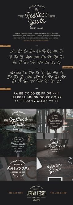 Restless Youth - Typeface Trio Available on Creative Market…