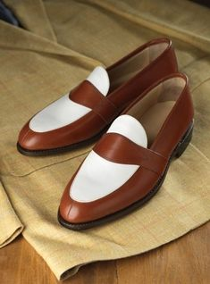 Handmade Men brown and white leather shoes, Men slip ons, Men formal shoes - Dress/Formal