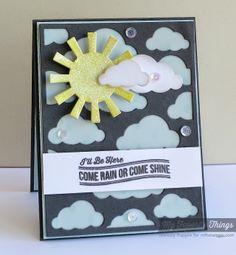 Blue Skies Ahead, Cloud Cover-Up Die-namics, Sun Moon & Stars Die-namics, Raindrops Stencil - Melody Rupple #mftstamps